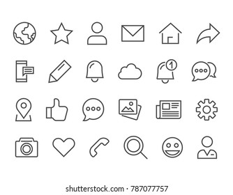 Simple Set of Social Networks Related Vector Line Icons. Editable Stroke. 48x48 Pixel Perfect.