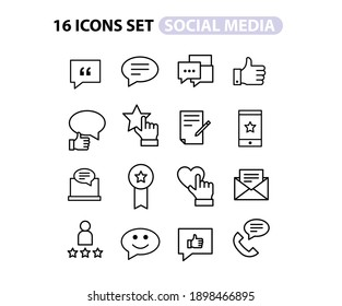 Simple Set of Social Networks and TESTIMONIAL Related Vector Line Icons. Contains such Icons as Profile Page, Rating, Social Links and more