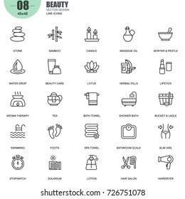 Simple Set of Spa and Beauty Related Vector Line Icons. Contains such Icons as Stone, Bamboo, Massage Oil, Spa Towel, Lipstick, Herbal Pills and more. Editable Stroke. 48x48 Pixel Perfect.