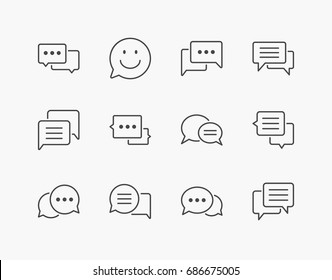 Simple Set of Speech Bubble Thin Line Icons. Editable Stroke. 64x64 Pixel Perfect.