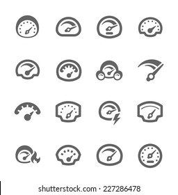 Simple Set of Speedometer Related Vector Icons for Your Design.