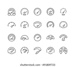 Simple Set of Speedometer Related Vector Line Icons.  Contains such Icons as Car Speedometer, Odometer, Dashboard and more. Editable Stroke. 48x48 Pixel Perfect.