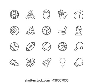 Simple Set of Sport Equipment Related Vector Line Icons. Contains such Icons as  Soccer Football, Bodybuilding, Jugging and more. Editable Stroke. 48x48