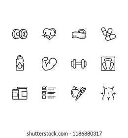 Simple set sport, fitness, gym equipment related vector line icons. Fitness training, bodybuilding, dumbbells, weight loss, muscle, sports nutrition