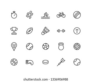 Simple Set of Sport games Vector Line Icons. Contains such Icons as ball, bicycle, football, hockey and more. Editable vector stroke. 48x48 Pixel Perfect.