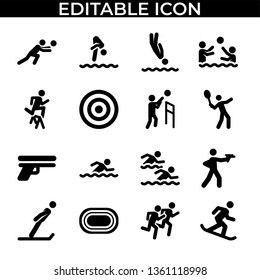 Simple Set of Sport people pictogram Vector Line and Fill Icons