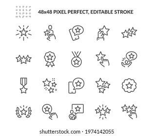 Simple Set of Star Related Vector Line Icons. Contains such Icons as Rating, Medal, Award and more. Editable Stroke. 48x48 Pixel Perfect.