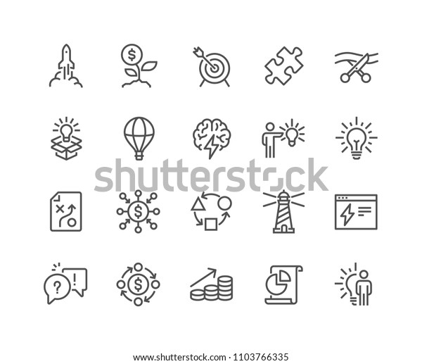 Simple Set of Startup Related Vector Line Icons.  Contains such Icons as Goal, Out of the Box Idea, Launch Project and more. Editable Stroke. 48x48 Pixel Perfect.