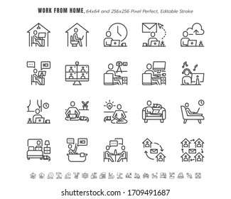 Simple Set of Stay and Work from Home in Coronavirus 2019 or Covid-19 Crisis.  Such as Working in Living Room, Bedroom, Bathroom. Thin Line Outline Icons Vector. 64x64 Pixel Perfect. Editable Stroke.