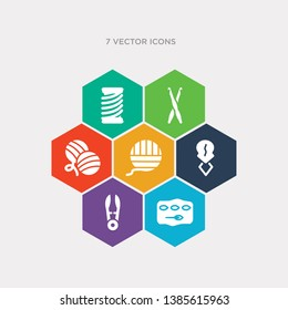 simple set of stiching, thread nippers, threader, wool ball icons, contains such as icons yarn, crochet hook, wire coil and more. 64x64 pixel perfect. infographics vector