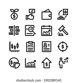 Simple Set of Stock Exchange Related Vector Line Icons. Contains Icons as Investment, Bidding, Wallet, Bar Chart and more.