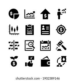 Simple Set of Stock Exchange Related Vector Glyph Icons. Contains Icons as Dividend, Chart, Economic Growth, Businessman, Report and more.