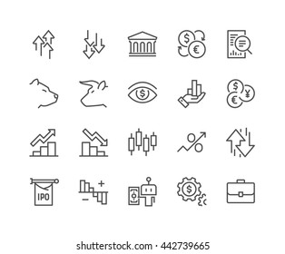 Simple Set of Stock Market Related Vector Line Icons.  Contains such Icons as Gainers, Losers, Bear, Bull, IPO, Currency Exchange and more Editable Stroke. 48x48 Pixel Perfect.