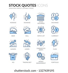Simple Set of Stock Quotes Related Vector Line Icons. Contains such Icons as IPO, Portfolio, Money Management and more. Editable Stroke. 64x64 Pixel Perfect.