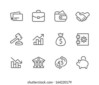 Simple set of stroked financial related vector icons for your design.