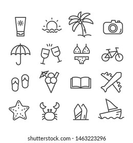 Simple set of summer minimal icon isolated. Modern outline on white background