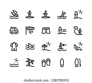 Simple Set of Surfing Related Vector Line Icons. Contains such Icons as surfing, beach, surfboard, sandal, sunset and More. pixel perfect vector icons based on 32px grid. Editable Strokes