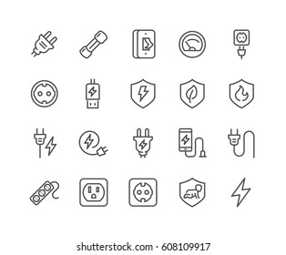 Simple Set of Surge Protector Related Vector Line Icons.  Contains such Icons as American/European Socket, USB Charge, Child Protection and more. Editable Stroke. 48x48 Pixel Perfect.