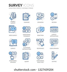 Simple Set of Survey Related Vector Line Icons. Contains such Icons as Review, Customer Opinion, Web Survey and more. Editable Stroke. 64x64 Pixel Perfect.