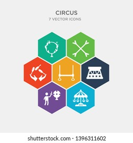 simple set of swing, knife throwing, circus podium, trapeze bar icons, contains such as icons jugglin, stick, ring of fire and more. 64x64 pixel perfect. infographics vector