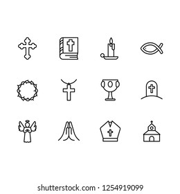 Simple set symbols religion and church line icon. Contains such icon religious cross, holy bible book, candle, crown of thorns, goblet, grail, temple, prayer, grave, death, angel