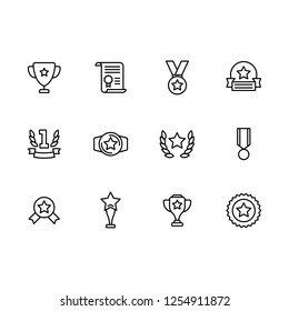 Simple set symbols sport trophy and champion cup line icon. Contains such icon victory, win, cup, award, medal, diploma, sports competition, leadership, championship, first place