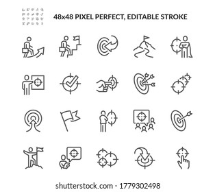 Simple Set of Target and Goal Related Vector Line Icons. Contains such Icons as Achievement, Business goal, Mission Path and more. Editable Stroke. 48x48 Pixel Perfect.