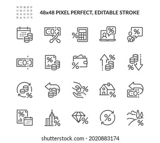 Simple Set of Tax Related Vector Line Icons. Contains such Money Report, Interest Rate, Tax Return and more. Editable Stroke. 48x48 Pixel Perfect.