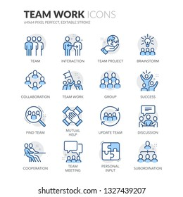 Simple Set of Team Work Related Vector Line Icons. Contains such Icons as Cooperation, Collaboration, Team Meeting and more. Editable Stroke. 64x64 Pixel Perfect.