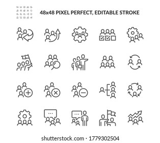 Simple Set of Team Work Related Vector Line Icons. Contains such Icons as Team Setup, Performance, Structure and more. Editable Stroke. 48x48 Pixel Perfect.