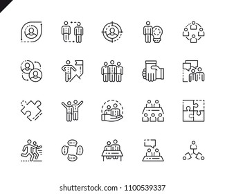 Simple Set Teamwork Line Icons for Website and Mobile Apps. Contains such Icons as Research, Meeting, Leadership, Business, Management. 48x48 Pixel Perfect. Vector illustration.