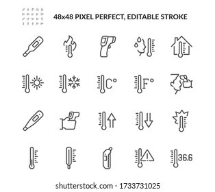 Simple Set of Temperature Related Vector Line Icons. Contains such Icons as Thermometer, Pyrometer, Body Temperature Check and more. Editable Stroke. 48x48 Pixel Perfect.