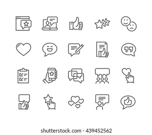 Simple Set of Testimonials Related Vector Line Icons.  Contains such Icons as Customer Relationship Management, Feedback, Review, Emotion symbols and more.
