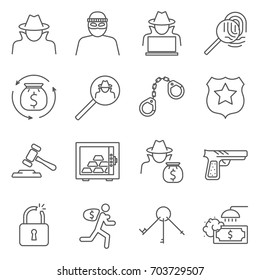 Simple Set of thief Related Vector Line Icons. Contains such Icons as theft, crime, thief, robber, intruder, money laundering, kidnapping and more.
