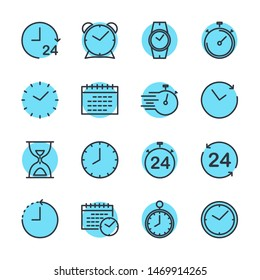 Simple Set of Time icon template color editable. Contains such Icons as Time Inspection, Log, Calendar and more symbol vector sign isolated on white background for graphic and web design.