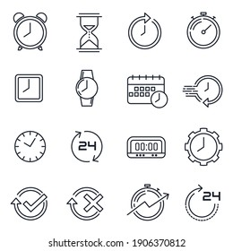 Simple Set of Time icon template color editable. Time Inspection symbol vector sign isolated on white background for graphic and web design.