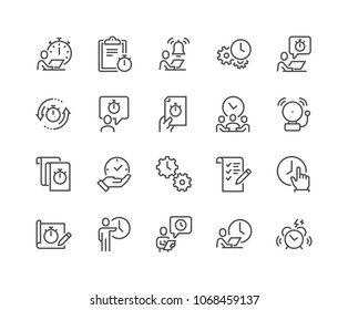 Simple Set of Time Management Related Vector Line Icons. Contains such Icons as To Do List, Time log, Alarm and more. Editable Stroke. 48x48 Pixel Perfect.