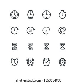 Simple Set of Time Related Vector Line Icons. Contains such Icons as Timer, Speed, Alarm, Restore, Time Management, Calendar and more. Editable Stroke.