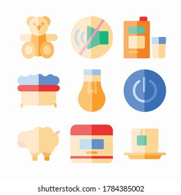 Simple Set Time To Sleep Vector Color Icons