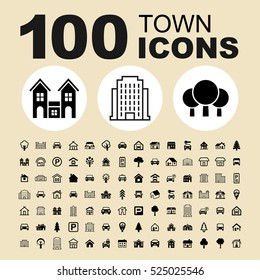 Simple Set of Town Related Vector Line Icons. Contains such Icons as City, House, Structure, Home, Estate, Construction, Residential, Building, Apartment, Facade and more.