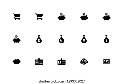 Simple set of trade icons: Shopping chart; Money bag; Yen JPY; Pound GBP; Euro EUR; Dollar USD; Piggy bank money; Identification card;  Money remittance and investment; Laptop and world map.