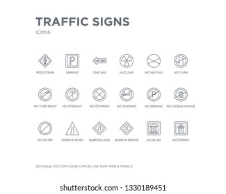 simple set of traffic signs vector line icons. contains such icons as motorway, museum, narrow bridge, narrow lane, narrow road, no entry, no mobile phone, no parking, smoking and more. editable