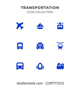 Simple Set of Transportation Related Color Vector Line Icons. Trendy Flat Style isolated on Slate White Background.