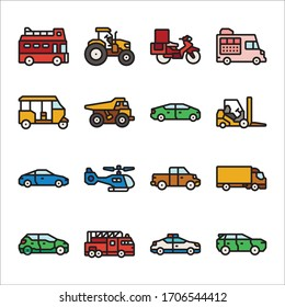 Simple Set of Transportation Related Vector Line Icons Color