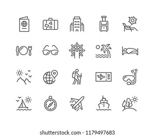 Simple Set of Travel Related Vector Line Icons. Contains such Icons as Luggage, Passport, Sunglasses and more.\nEditable Stroke. 48x48 Pixel Perfect.