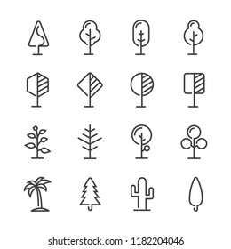 Simple set Trees line icon modern style
