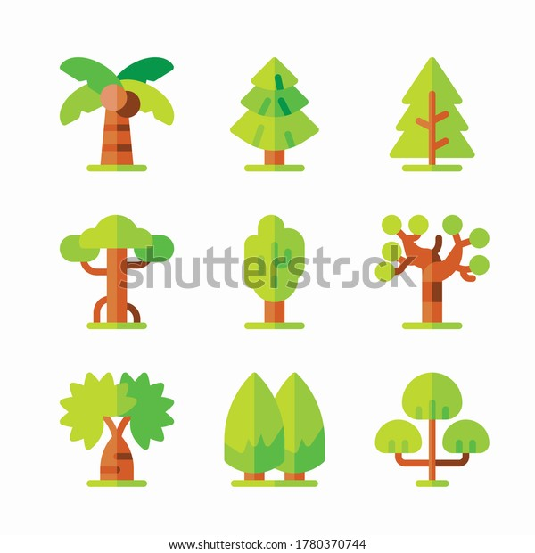 Simple Set Trees Vector Color Icons. Color with Editable stroke