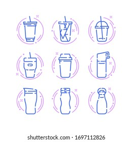 Simple Set of Tumbler and Bottles icons. Coffee and Drinks bottles.