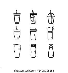 Simple Set of Tumbler&Bottles icons. Coffee&Drinks bottles.