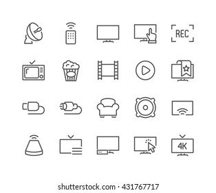 Simple Set of TV Related Vector Line Icons.  Contains such Icons as Screen, Menu, Record and more.  Editable Stroke. 48x48 Pixel Perfect.